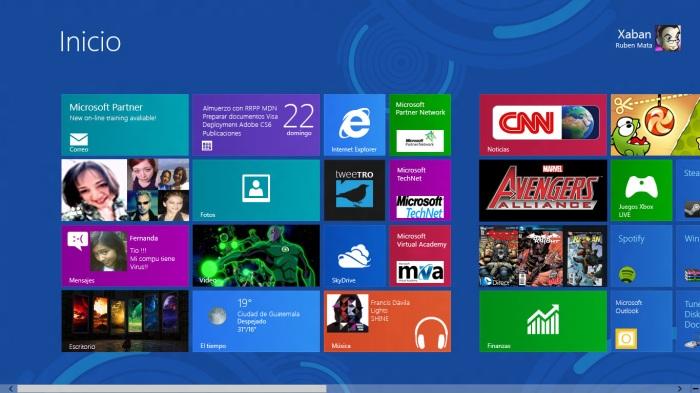 Menú de Inicio de Windows 8