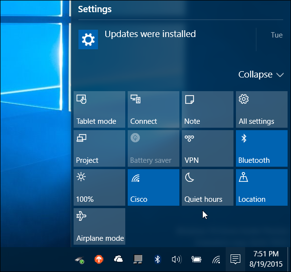 Action Center de Windows 10